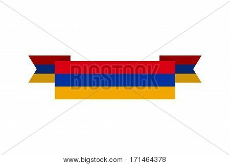 Armenia flag ribbon isolated. Armenian tape banner. National symbol countrys public