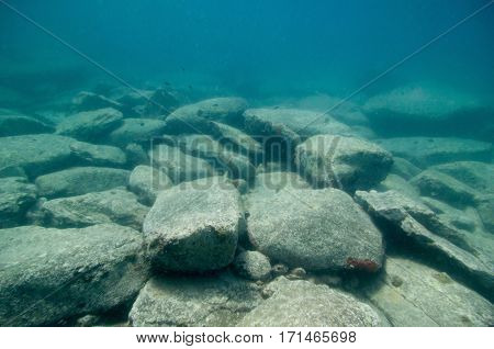 Boulders On A Sea Floor. Wide Angle, Selective Focus