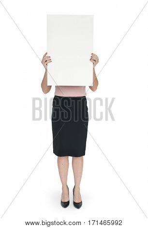 Woman Cover Face Banner Copy Space Portrait