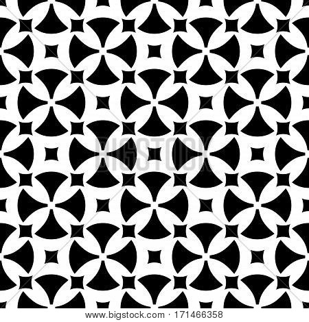 Vector seamless pattern, abstract ornamental background. Simple black & white geometric figures, rounded crosses, squares. Repeat monochrome texture. Design for prints, decoration, textile, fabric, cloth, furniture, wrapping