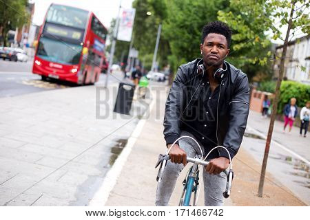 cyclist using the cycle lane in London