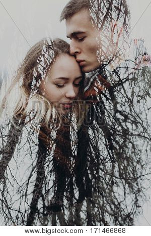 Double Exposure With Couple And Tree Branches In Autumn Park. Sensual Atmospheric Moment Of Stylish