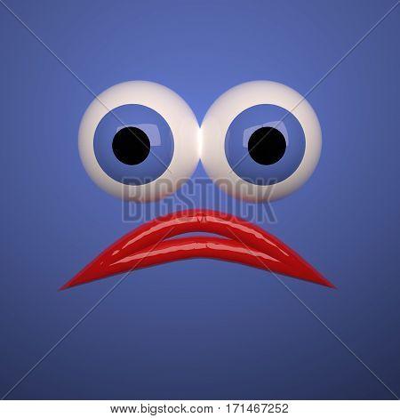 Sad Face Over Blue Background