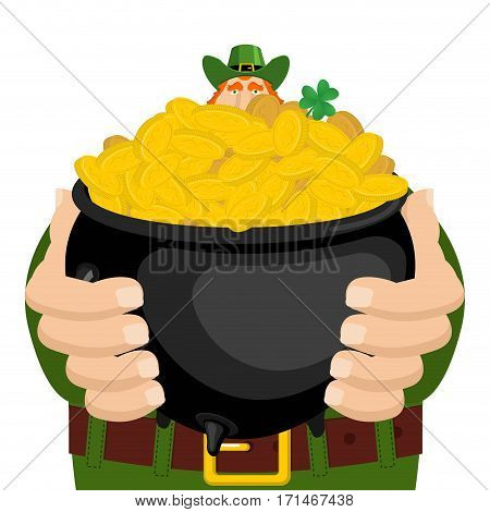 St. Patrick's Day. Leprechaun And Pot Of Gold. Magic Dwarf And Boiler Of Golden Coins. National Holi
