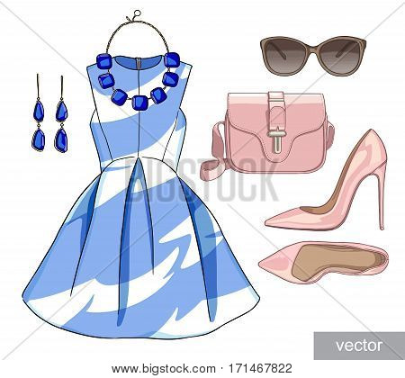 Lady fashion set of spring season outfit. Illustration stylish and trendy clothing. Dress, bag, accessories, sunglasses, high heel shoes. Vector.