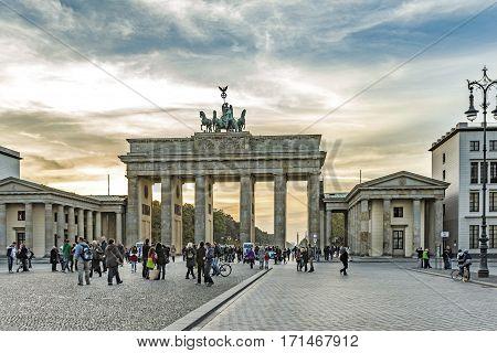 People At Brandenburg Gate (brandenburger Tor) In Berlin