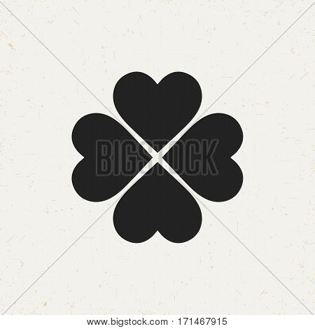 Flat monochrome four leaf clover icon in vintage style. Isolated four leaf clover icon for use in variety of projects. Black and white vector four leaf clover icon for web sites and apps.
