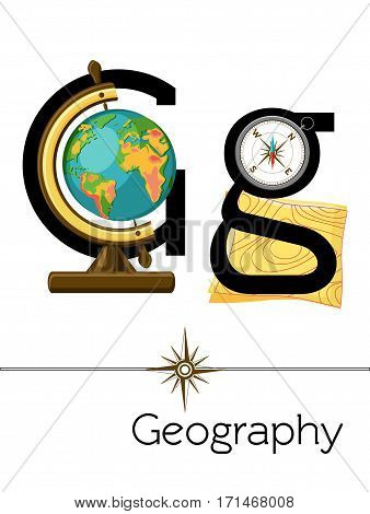 Flash card letter G is for Geography. Science alphabet for kids. Puzzle ABC flash cards series. Cartoon vector illustration in flat style.