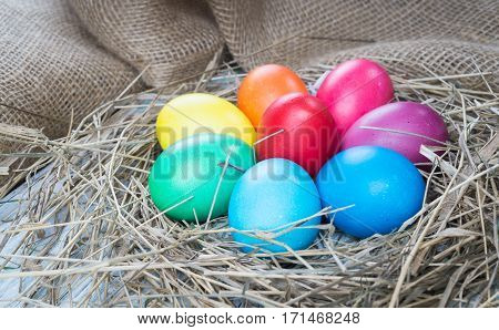 Colorful easter hen eggs in hay on sackcloth background. Easter eggs in straw nest