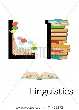 Flash card letter L is for Linguistics. Science alphabet for kids. Puzzle ABC flash cards series. Cartoon vector illustration in flat style.