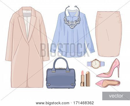 Lady fashion set of autumn season outfit. Illustration stylish and trendy clothing. Coat, skirt, shirt, necklace, watch, blouse, bag, sunglasses, shirt, shoes. Vector.