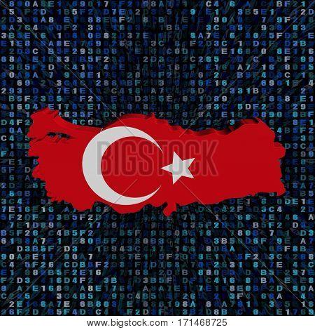 Turkey map flag on hex code 3d illustration
