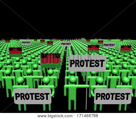 Crowd of people with protest signs and Malawi flags 3d illustration