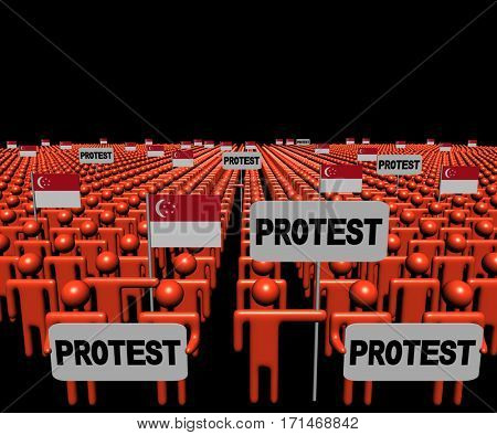 Crowd of people with protest signs and Singapore flags 3d illustration