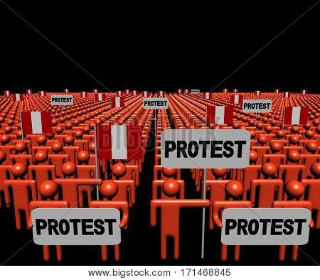 Crowd of people with protest signs and Peruvian flags 3d illustration