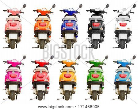 Set of 10 multi-colored scooter isolated on background. Stylish bright hipster two-wheeled moped is perfect vehicle for narrow streets of resort & congested metropolises. Image contains clipping path