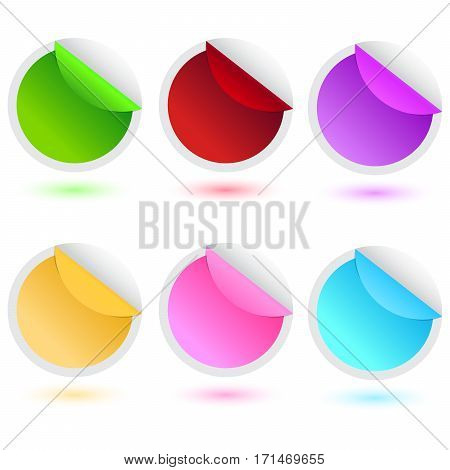 sale stickers 6 colors vector illustration with shadow
