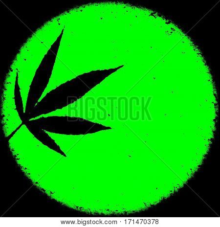 Neon bright green marijuana ganja circle grunge messy background design