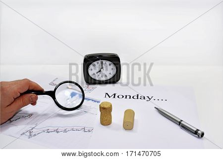 Abstract composition of making Monday plans. Isolated on white background.