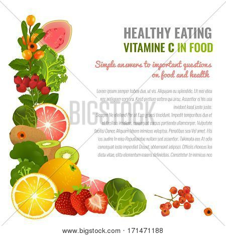 Vitamin C food sources. Healthy eating graphic concept with vector illustrations and copyspace. Useful for health magazines, culinary web sites and restaurant menus. Diet and organic template.