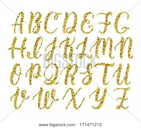 Hand drawn latin calligraphy brush script of capital letters. Gold glitter alphabet. Vector illustration