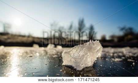 Frozen pieces of ice on a small frozen lake
