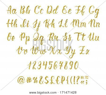 Handwritten latin calligraphy brush script with numbers and punctuation marks. Gold glitter alphabet. Vector illustration