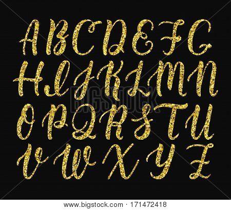 Handwritten latin calligraphy brush script of capital letters. Gold glitter alphabet. Vector illustration