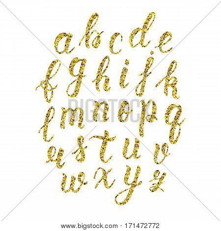 Hand drawn latin calligraphy brush script of lowercase letters. Gold glitter alphabet. Vector illustration