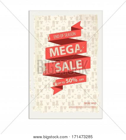 Vintage sale poster, flyer with ribbon banner, paint splatter