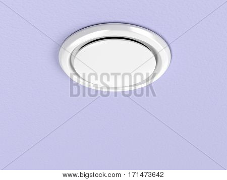 Round air vent on the purple ceiling, 3d illustration