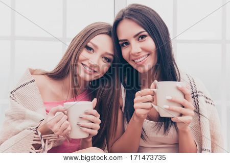 Portrait Of Beautiful Happy Best Friends Covered In Plaid And Drinking Coffee