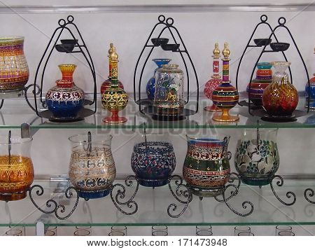 Shop of national souvenir ware and souvenirs in Tunisia