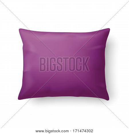 Close Up of a Classic Magenta Pillow Isolated on White Background