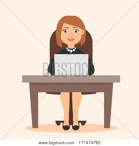 Cute beautiful girl. Profession Secretary, administrator, office worker. Vector in flat style. A Desk and a computer.