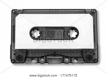 Old compact audio cassette (tape) macro shot on white backgroundwith clipping path