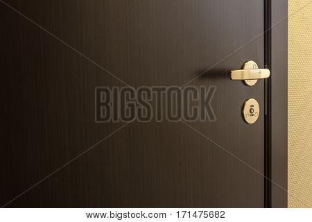 Closed brown door of hotel room background