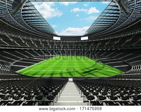 3D Render Of A Round Rugby Stadium With  Black Seats And Vip Boxes