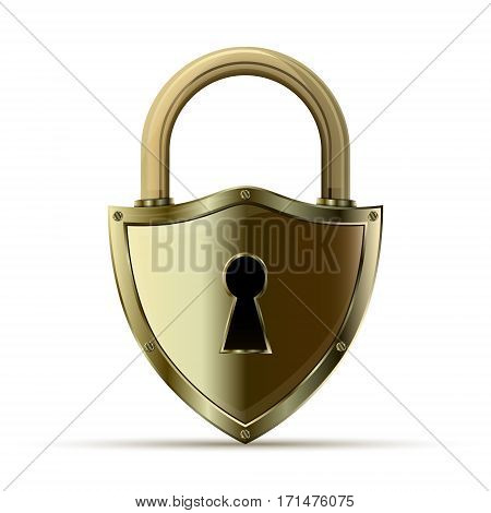3D realistic closed padlock. Steel lock for protection privacy vector illustration. Security and protection concept.