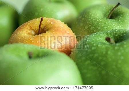 Extreme close-up image of apple with shallow dept of field