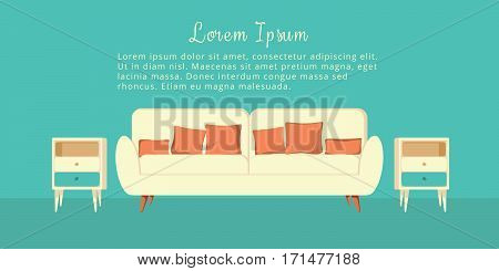 Interior living room in flat style. Vector. House design with furniture armchair, couch, coffee table. Background.
