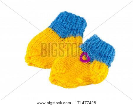 Yellow and Blue baby bootees for little babi beautiful gift knitted socks for child