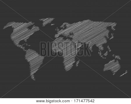 White chalk scribble sketch map of World on dark school clasroom blackboard. Hand doodle drawing. Vector illustration.