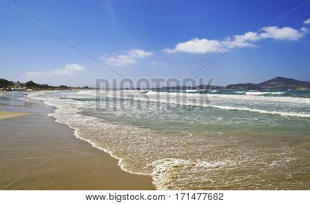 wavy sea at Saint George beach Naxos island Cyclades Greece