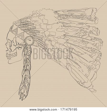 Vector illustration, hand drawing of a human skull in a headdress Indian chief