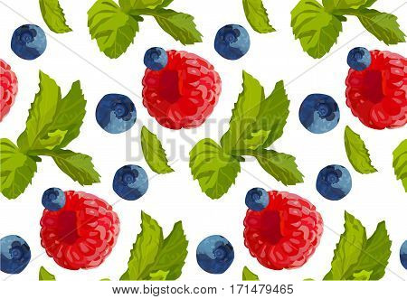 Raspberry blueberry berry mint leaf set collection taste color sweet cute fresh natural seamless beautiful food pattern background texture vector closeup top illustration isolated white background