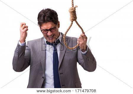 Bankrupt businessman hanging himself isolated on white