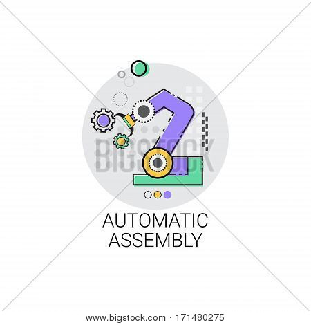 Automatic Assembly Machinery Industrial Automation Industry Production Icon Vector Illustration