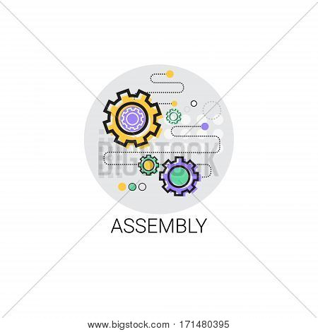 Assembly Machinery Industrial Automation Industry Production Icon Vector Illustration