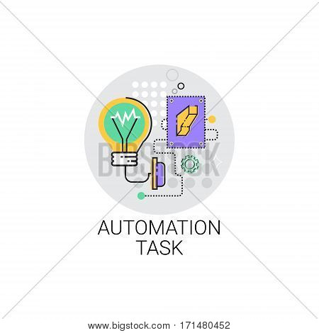Smart Robot Machinery Industrial Automation Task Industry Production Icon Vector Illustration